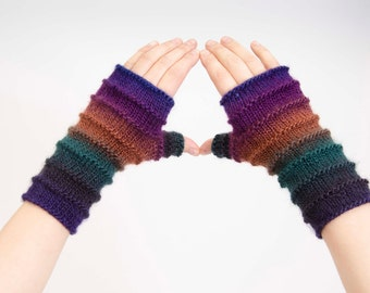 Knit fingerless gloves in navy green brown and purple  shades