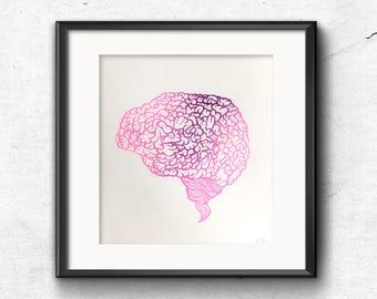 Risograph print, Riso illustration, Wall Art Prints, Illustrated brain, Original artwork, Brain Art, Science poster, Papercut print