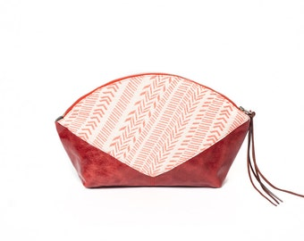 Red leather purse, cherry red leather pouche, evening bag, clutch bag, jacquard fabric case, wristlet bag, pouch, travel case, cosmetic bag