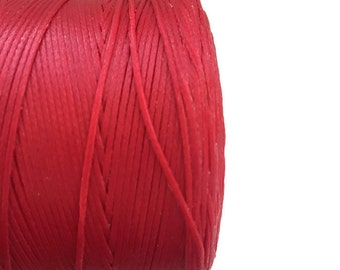 Red Waxed Cord, Waxed Polyester Cord, Red Waxed Thread, Macrame cord 10 m- 11 yards - S 40 170