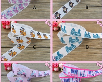 "1"" Taz Looney Tune,Barn Princess,Navy Grosgrain Printed Ribbon/100% polyester/1,3,5,10 yards/Hair Bow/DIY/ Scrapbooking/Dog Collar,Wedding"
