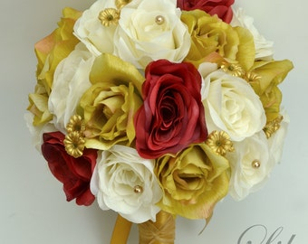 """17 Piece Package Wedding Bridal Bouquet Silk Flowers Bouquets Artificial Bride GOLD RED IVORY Jewels Pearls """"Lily of Angeles"""" GORE01"""""""