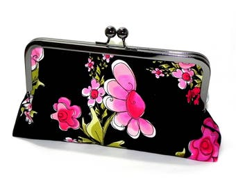 Floral Clutch - Pink, green and black flowers - Gunmetal kisslock frame