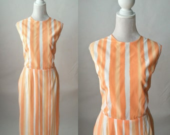 Vintage 1960s Orange and White Striped Dress