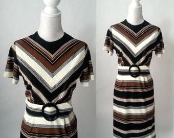 Vintage 1650s Dress, Striped Vintage Dress, Vintage Pin Up Dress, Brown  Black Striped Dress, 50s Belted Dress, Retro 50s Casual Dress,
