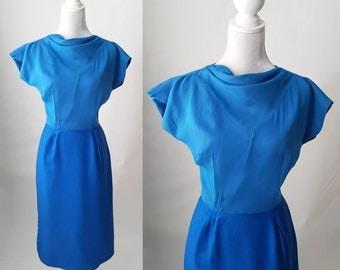 Vintage 1950s Electric Blue Chiffon Wiggle Dress