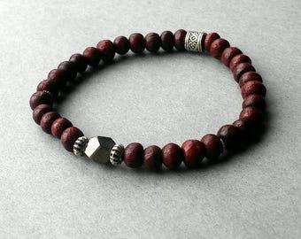 Mahogany Red Wood, Pyrite Gemstone Stretch Bracelet, bali style pewter compenents, Men's, Unisex Jewelery