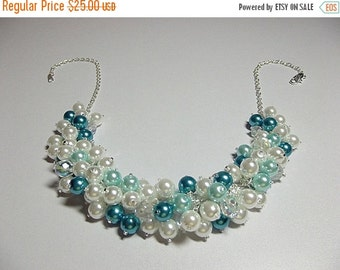 30% OFF SALE thru 2-28 Blue Teal and White Pearl and Crystal Cluster Necklace, Valentines Mothers Day Christmas Gift, Bridesmaid Wedding Mom