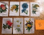 Pretty 1910's ANTIQUE Flower Cigarette Silks / Collectible Tabacco Silks / Tiny Vintage Quilt Patches - 7 Different Floral Swatches (B)