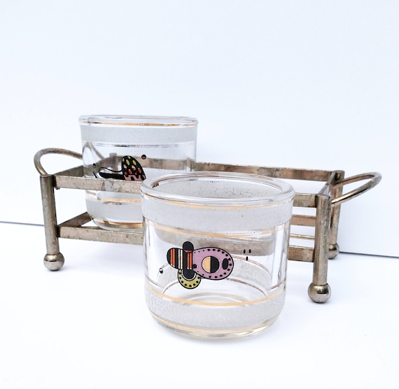 Vintage 1960's Mid-Century Modern Glass Set with Tray