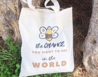Reusable shopping bag – bee grocery bag, Inspirational tote bag, eco girl gift, cotton tote bag, vegan canvas tote bag, farmers market bag