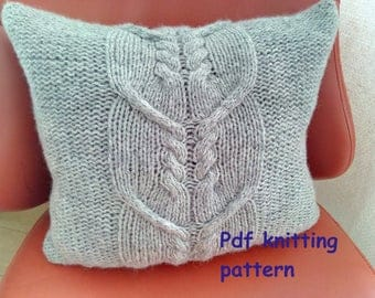 PDF KNITTING PATTERN, Cable knit pillow cover No.5, 14 x 14