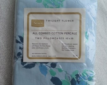 "Sears Twilight Flower pillowcases/ vintage set of two pillowcases/ blue and mint rose pillowcases/ combed cotton pillowcases 42"" x 38"""