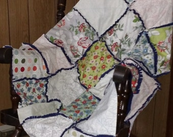 """Paint by Numbers by Moda Shabby Chic Roses Rag Quilt Pink, Green, Blue, Red & Grey Lap Size 45"""" X 45"""" Navy Blue Flannel Back Ready to Ship"""