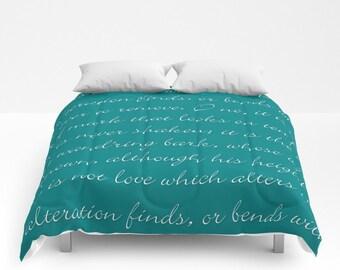 LOVE Poem Comforter 12 Color Options, Bed Cover, Shakespeare's Sonnet 116, Handwriting script Modern Bedding Bedspread Romantic Customizable