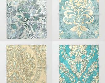 Vintage Kilim Throw Blanket, Light, Romantic, Chic, Victorian, Antique Damask, Home Decor, Shabby Chic, stone blue, duck egg, teal, sand