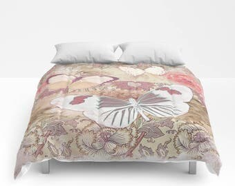 Cream Mauve BUTTERFLY Duvet Cover or Comforter, Bedding Retro Vintage  Bedspread, Bed Cover, olive pink violet off white shabby