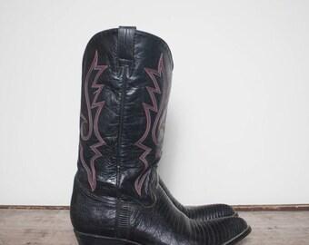 40% off SALE 12-13 | Men's Black Lizard Western Cowboy Boots