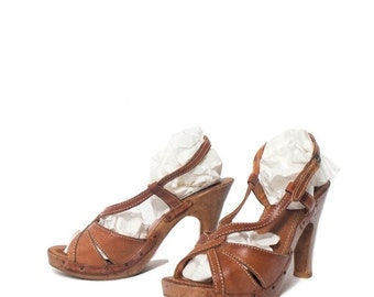 40% off SALE 6 B | Nobil's Brown Leather High Heel Wood Sandals