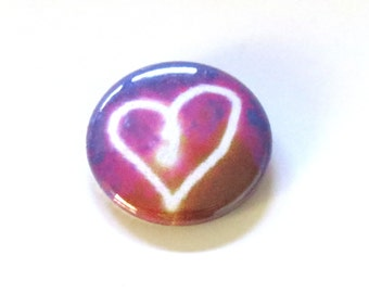Glowing Heart Pinback Button - Light Drawing Art Badge - Valentine's Gift