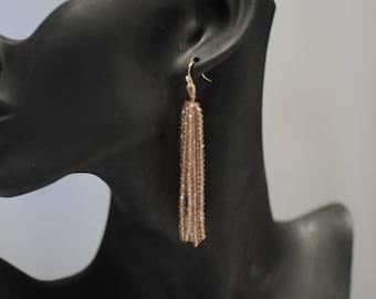 SALE - Tassel earrings, Chunky beaded Earrings, Champagne colored Earrings, Dangle earrings, Long earrings, Gift for her, Drop Earrings
