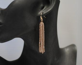 Tassel earrings, Chunky beaded Earrings, Champagne colored Earrings, Dangle earrings, Long earrings, Gift for her, Drop Earrings