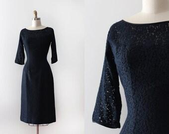 vintage 1950s dress // 50s 60s black lace wiggle dress