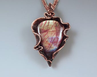 Rainbow Labradorite- Electroformed Copper- One of a Kind- Metal Art Necklace- by RedPaw