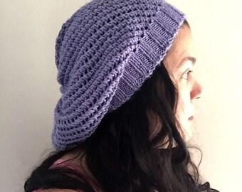 Knit purple lavender beret tam slouch hat
