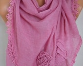 Pink Scarf, Shawl,Fall Winter Scarf, Lace Oversized Bridesmaid Bridal Accessories, Gift Ideas For Her Women Fashion Accessories