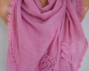 Pink Scarf, Shawl,Summer Scarf, Lace Oversized Bridesmaid Bridal Accessories, Gift Ideas For Her Women Fashion Accessories