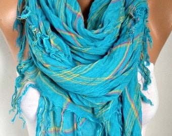 ON SALE --- Turquoise Plaid Cotton Scarf, So Soft. Fall, Winter Scarf, Tartan, Shawl, Cowl Gift Ideas For Her Women Fashion Accessories,Wome