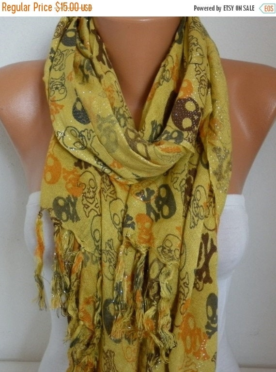 ON SALE --- Mustard Skull Print Cotton Scarf, Fall Scarf,Crossbones, Silvery, Cowl Scarf, Gift Ideas For Her, Women Fashion Accessories