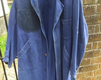 Fantastic heavy herringbone paint splattered French work coat