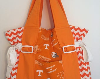 Tennessee Volunteers tote. College football tote. chevron and orange tote. Made to order