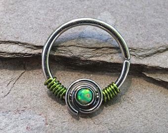 16g Green Opal Hoop Rook Hoop Daith Hoop Cartilage Hoop Tragus Hoop Septum