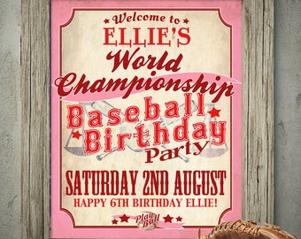 Vintage Girls Baseball Party Sign - INSTANT DOWNLOAD - Editable & Printable Rockford Peaches, A League of her Own, Birthday Welcome Poster