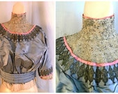 Edwardian Bodice 1900s Antique Silver Silk and Lace Waist Gibson Girl AS IS