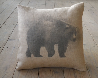 Bear Burlap Pillow,  16 inch square, Shabby Chic, Lodge, Cabin, Rustic, INSERT INCLUDED