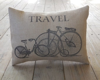 Vintage bicycles Burlap Pillow, Travel, Shabby Chic, INSERT INCLUDED