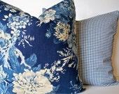 Blue Floral Pillow Cover French Country Blue Blue Farmhouse Pillow Waverly Ballad Bouquet Indigo Blue