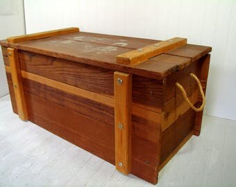 Baby Boomer Era Cass Wooden Toys And Things Chest - Large Solid Wood Storage Trunk with Heavy Rope Handles - Treasure Chest - Mudroom Bench