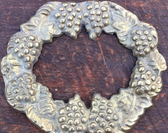 Vintage  brass metal frame stamping with grapes