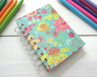 Mini Notebook Jotter with lined pages, inside pocket, coupon book, grocery list book, idea book, wire bound, floral