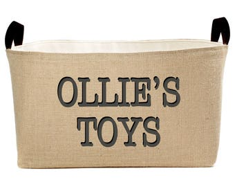 Personalized Toys X-Large Burlap Storage Bin, Charcoal Gray and Black