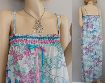 Vintage 80s Boho Floral Lounging Beach slouchy sack dress Spaghetti Strap Maxi Dress S-M