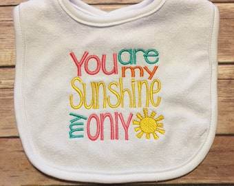 Cute Baby Bib, You Are My Sunshine, Baby Shower Gift, New Baby Gift, Adoption Gift, Boutique Bib, Welcome Baby Gift, Appliqued Bib