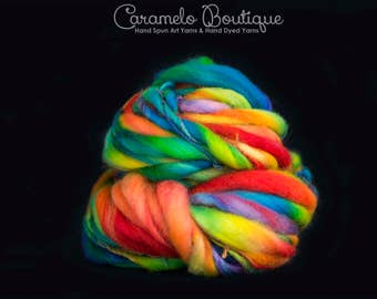 Thick and Thin Hand Dyed Rainbow Yarn Color-Lollipop Colors Hand Spinning Bulky Yarn-Hand Dyed Thick & Thin Yarn Art-Handmade Bulky Yarn