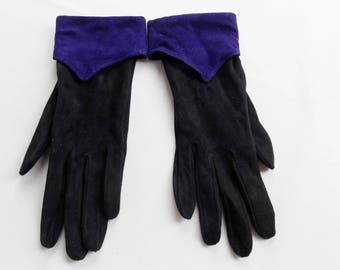 Vintage BILL BLASS JESTER Suede Black and Purple Gloves  Artsy and Unique