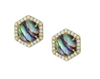 Abalone Hexagon Pave Stud Earrings